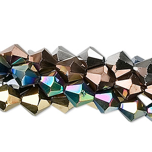 bead, glass, assorted metallic colors, 8mm faceted bicone. sold per pkg of five 13-inch strands.