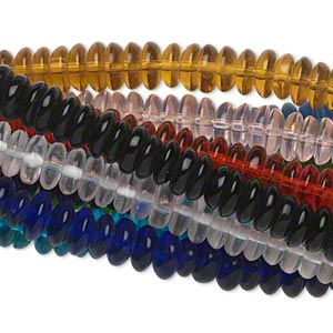 bead, glass, assorted transparent colors, 8x3mm rondelle. sold per pkg of (10) 16-inch strands.