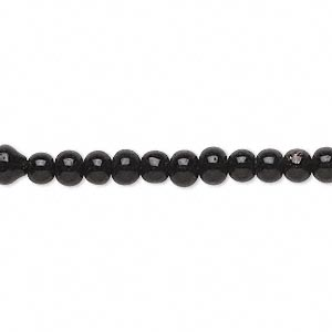 bead, glass, black, 3-4mm round. sold per 16-inch strand. minimum 6 per order.