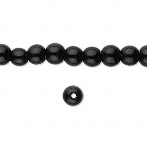 bead, glass, black, 6mm round. sold per 16-inch strand.