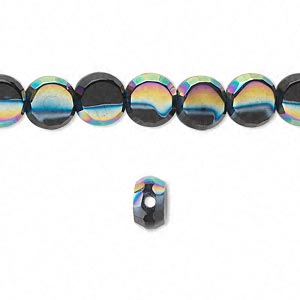bead, glass, black ab, 8mm hand-faceted flat round. sold per 16-inch strand.