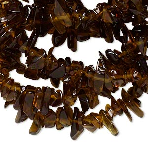 bead, glass, brown, large chip. sold per 34-inch strand. minimum 4 per order.