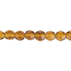 bead, glass, golden yellow, 5-6mm faceted round. sold per 12-inch strand. minimum 2 per order.