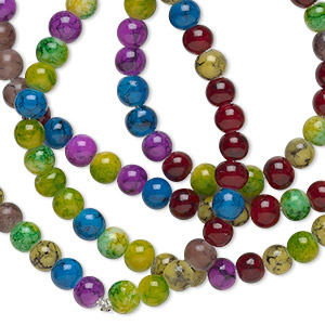 bead, glass, jewel tones, 4mm round. sold per 36-inch strand.