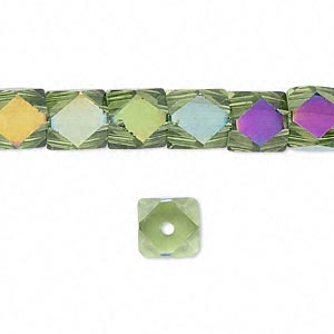bead, glass, light green ab, 8x8mm hand-faceted cube. sold per 16-inch strand.