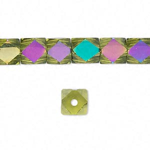 bead, glass, lime green ab, 8x8mm hand-faceted cube. sold per 16-inch strand.
