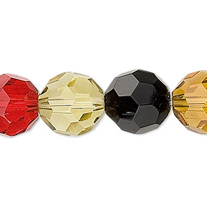 bead, glass, multicolored, 12-14mm faceted round. sold per 14-inch strand.