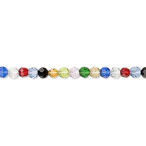 bead, glass, multicolored, 3-4mm faceted round with 0.7mm hole. sold per 14-inch strand.