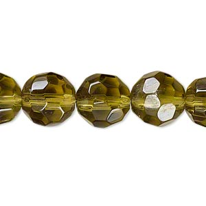 bead, glass, olive, 11-12mm faceted round. sold per 12-inch strand. minimum 2 per order.