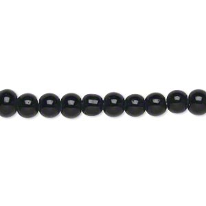 bead, glass, opaque black, 5-6mm round, economy grade. sold per 15-inch strand.