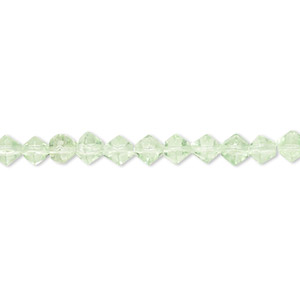 bead, glass, pale green, 3-5mm faceted bicone. sold per 12-inch strand. minimum 2 per order.