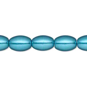 bead, glass pearl, dark aqua, 11x8mm oval. sold per 15-inch strand.