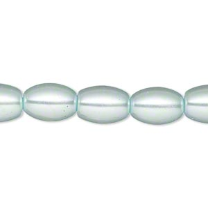 bead, glass pearl, light blue, 11x8mm oval. sold per 15-inch strand. minimum 4 per order.