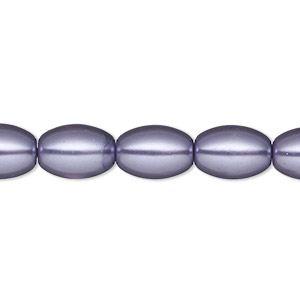 bead, glass pearl, purple, 11x8mm oval. sold per 15-inch strand.