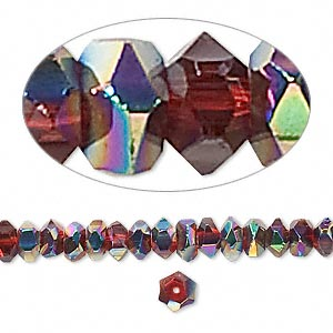 bead, glass, red ab, 6x3mm hand-faceted rondelle. sold per 16-inch strand.