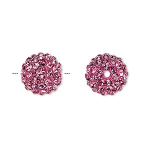 bead, glass rhinestone / epoxy / resin, dark pink, 12mm round. sold individually.