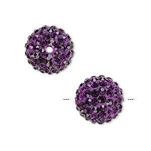 bead, glass rhinestone / epoxy / resin, dark purple, 14mm round. sold individually.