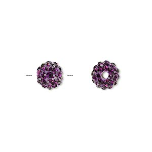 bead, glass rhinestone / epoxy / resin, dark purple, 8mm round. sold individually.