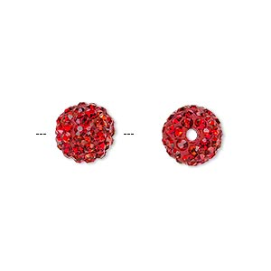 bead, glass rhinestone / epoxy / resin, red, 10mm round. sold individually.