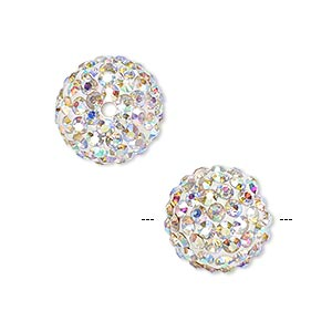bead, glass rhinestone / epoxy / resin, white and clear ab, 14mm round. sold individually.