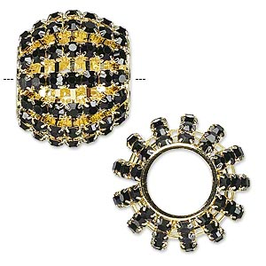 bead, glass rhinestone and gold-finished brass, black, 25x20mm barrel with 3mm chatons, 11.5mm hole. sold individually.
