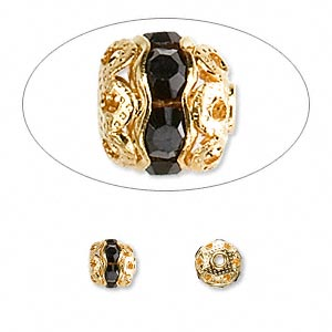 bead, glass rhinestone and gold-finished brass, black, 6mm banded round. sold per pkg of 10.