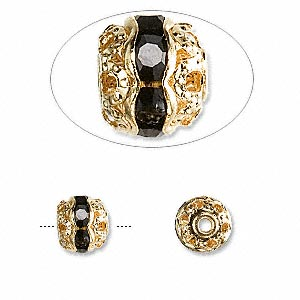 bead, glass rhinestone and gold-finished brass, black, 8mm banded round. sold per pkg of 10.