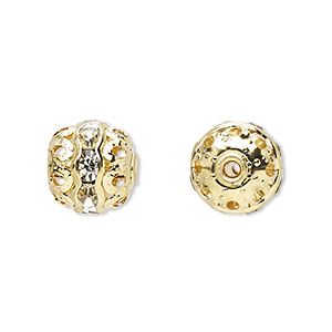 bead, glass rhinestone and gold-finished brass, clear, 10mm banded round. sold per pkg of 10.
