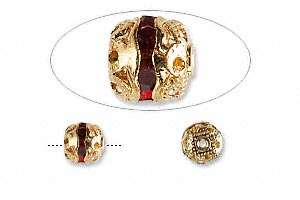 bead, glass rhinestone and gold-finished brass, garnet red, 6mm banded round. sold per pkg of 10.