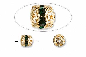 bead, glass rhinestone and gold-finished brass, green, 6mm banded round. sold per pkg of 10.