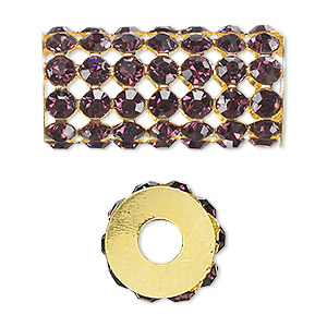 bead, glass rhinestone and gold-finished brass, purple, 32x15mm cylinder with 4mm chatons, 5.75mm hole. sold individually.