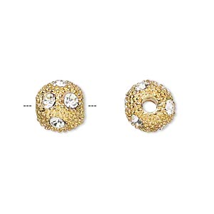 bead, glass rhinestone and gold-plated pewter (zinc-based alloy), clear, 10mm round with 3mm hole. sold per pkg of 2.