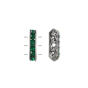 bead, glass rhinestone and gunmetal-finished brass, emerald green, 16x5mm 3-strand 6-sided bridge spacer. sold per pkg of 10.