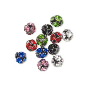 bead, glass rhinestone and gunmetal-plated brass, assorted colors, 5.5mm round. sold per pkg of 12.