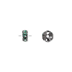 bead, glass rhinestone and gunmetal-plated brass, emerald green, 7x3mm rondelle. sold per pkg of 10.