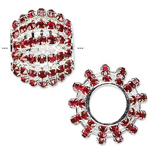 bead, glass rhinestone and silver-finished brass, ruby red, 25x20mm barrel with 3mm chatons, 11.5mm hole. sold individually.