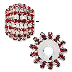 bead, glass rhinestone and silver-finished brass, ruby red, 25x20mm barrel, 6.5mm hole. sold individually.