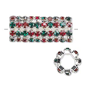 bead, glass rhinestone and silver-finished brass, ruby red and emerald green, 32x13mm cylinder with 3mm chatons, 7.5mm hole. sold individually.