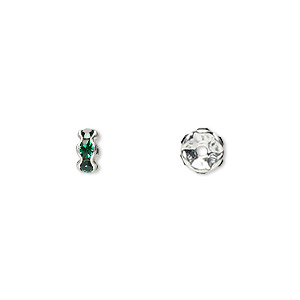 bead, glass rhinestone and silver-plated brass, emerald green, 5x2mm rondelle. sold per pkg of 10.