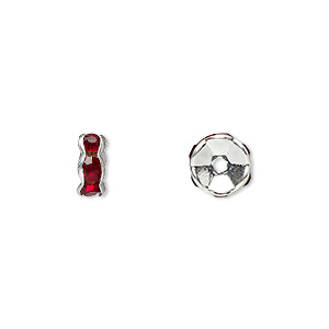 bead, glass rhinestone and silver-plated brass, garnet red, 7x3.5mm rondelle. sold per pkg of 10.