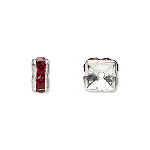bead, glass rhinestone and silver-plated brass, garnet red, 8x4mm squaredelle. sold per pkg of 10.