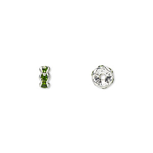 bead, glass rhinestone and silver-plated brass, peridot green, 5x2mm rondelle. sold per pkg of 10.