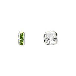 bead, glass rhinestone and silver-plated brass, peridot green, 6x3mm squaredelle. sold per pkg of 10.