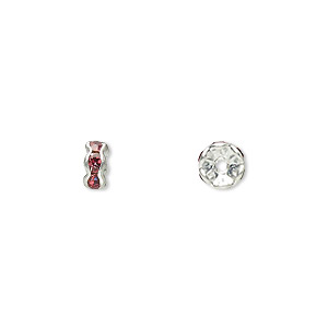 bead, glass rhinestone and silver-plated brass, rose, 5x2mm rondelle. sold per pkg of 10.