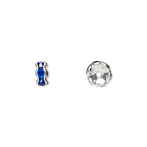 bead, glass rhinestone and silver-plated brass, sapphire blue, 6x3mm rondelle. sold per pkg of 10.