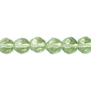 bead, glass, spring green, 7-8mm faceted round. sold per 12-inch strand. minimum 2 per order.