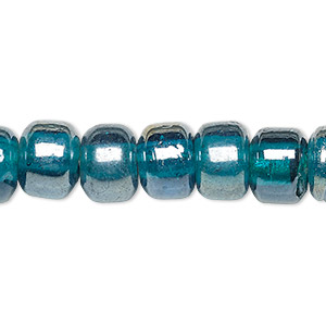 bead, glass, translucent luster ocean blue, 9x7mm crow. sold per 24-inch strand.