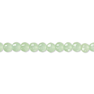 bead, glass, translucent pale green, 3-4mm faceted round. sold per 12-inch strand. minimum 2 per order.