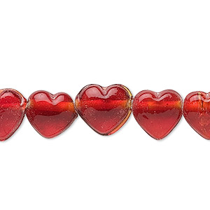 bead, glass, translucent red, 11x11mm heart. sold per pkg of (2) 16-inch strands.