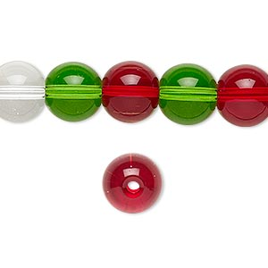 bead, glass, transparent christmas tones, 9-10mm round. sold per 36-inch strand.